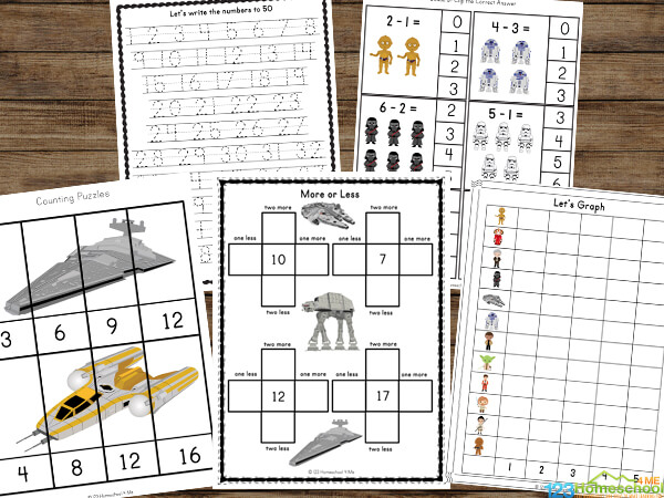 super cute, free printable, themed worksheets make it fun for kids to practicetracing letters, counting, graphing, what comes next, skip counting and more with a playful star wars theme