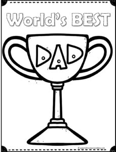 world's best dad on trophy coloring page