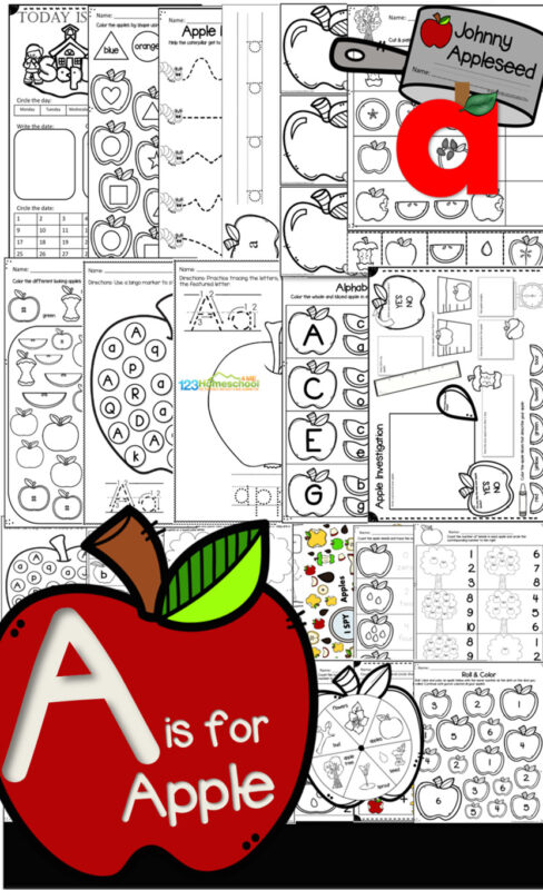 Letter A Pack - Preschool and pre k age children will have fun with a week long a is for apple theme while tracing letters, working on letter recognition, adding / counting / tracing numbers, shapes, color red, johnny appleseed, apple life cycle, crafts, sight words, and so much more!