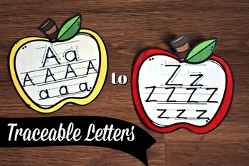 Apple Themed Tracing alphabet letters