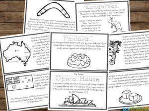 fun to color Australia printables to help kids learn about the boomerang, flag, vegemite, Sydney opera house, flag, digeridoo, kangroo, and more!