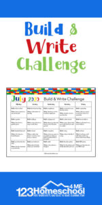 FREE Build and Write Lego Challenge for summer! Help elementary age kids practice writing with these creative writing prompts for kids from Kindergarten, grade 1, grade 2, grade 3, grade 4, grade 5, grade 6 and more!