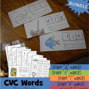 CVC Words Printable Flip Books to cut and paste to practice short vowel words with pre k, kindergarten, and grade 1
