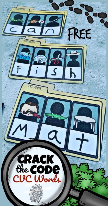 FREE Crack the Code Printables - CVC Words Make reading and spelling fun with these free printableCrack the Code Printables where pre k, kindergarten, and grade 1 students will practice listening for beginning sounds to solve the case!