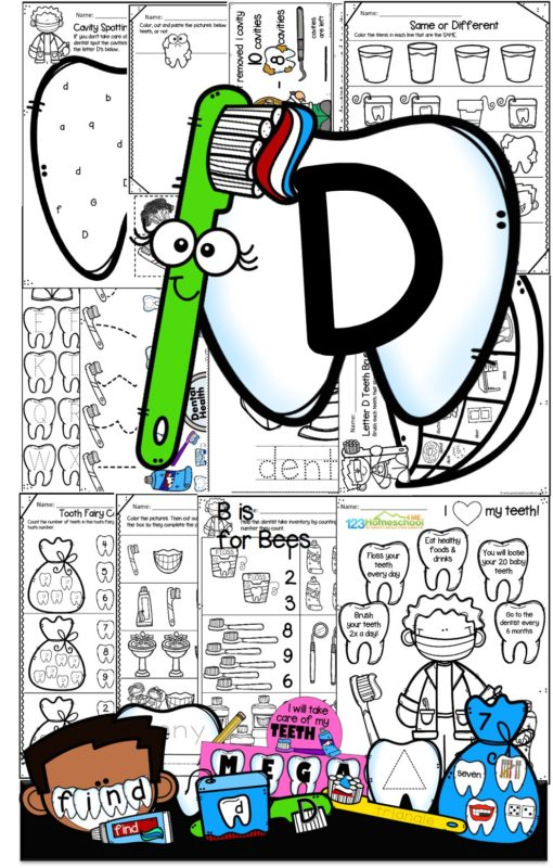 D is for dental health printables for preschool and pre k - practice tracing alphabet letters, matching upper and lowercase letters, beginning sounds, tooth decay science experiments, counting, shapes, subtraction, name craft, and more with a fun toothbrush and dentist them for preschoolers as a letter of the week curriculum.