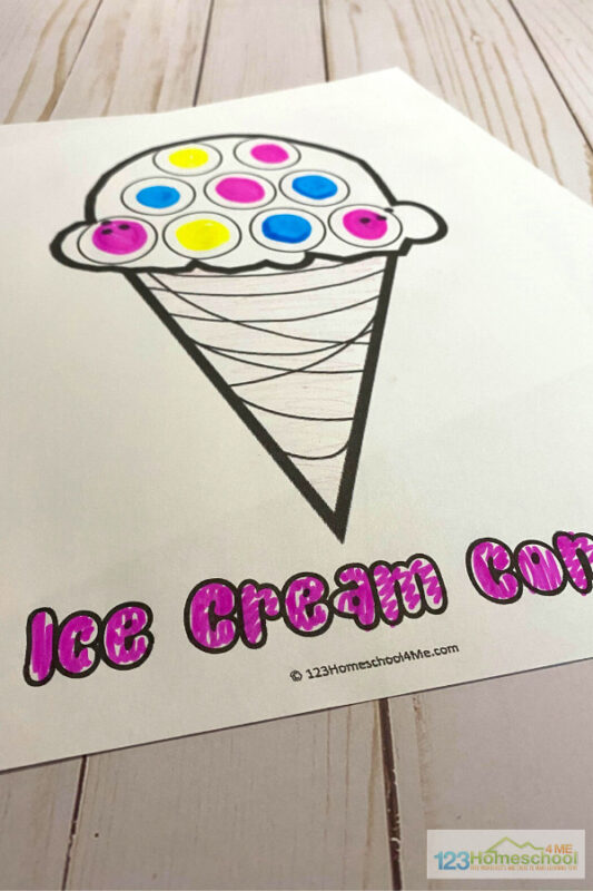 decorate stars, watermelon, ice cream, and other summertime pictures with these Dot Art Printables Free