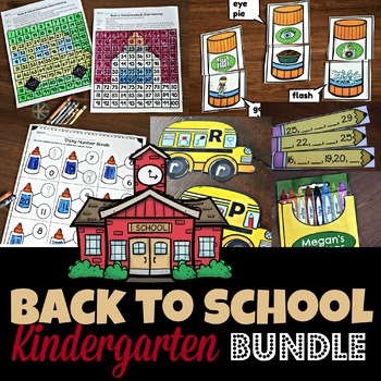 HUGE Back to School Bundle filled with 10 printable activities perfect for the first day of school with kindergartners and grade 1 - math, letter matching, rhyming, phonemic awareness, bingo, coloring pages, about me and more!