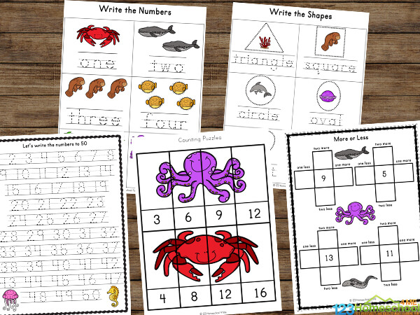 make practicing math, shapes, counting and more fun with these kindergarten ocean worksheets
