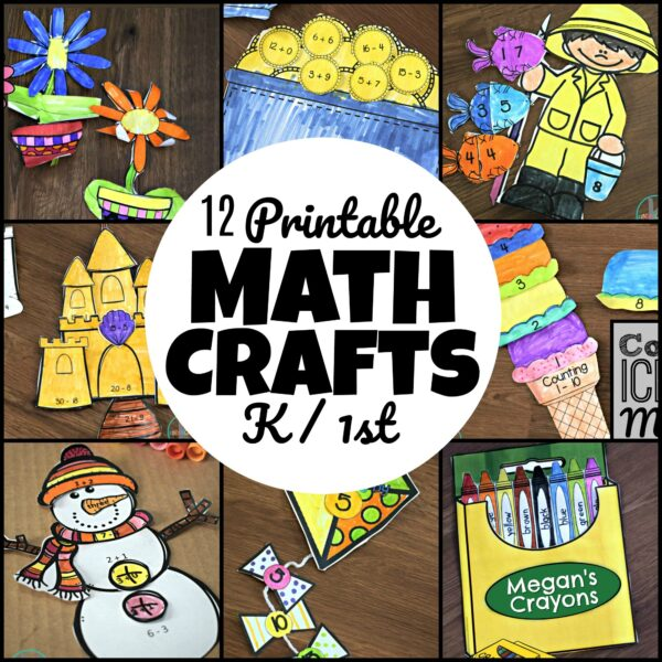 12 Printable math Crafts -one craft for each month of the year; fun math practice for kindergartners and first graders