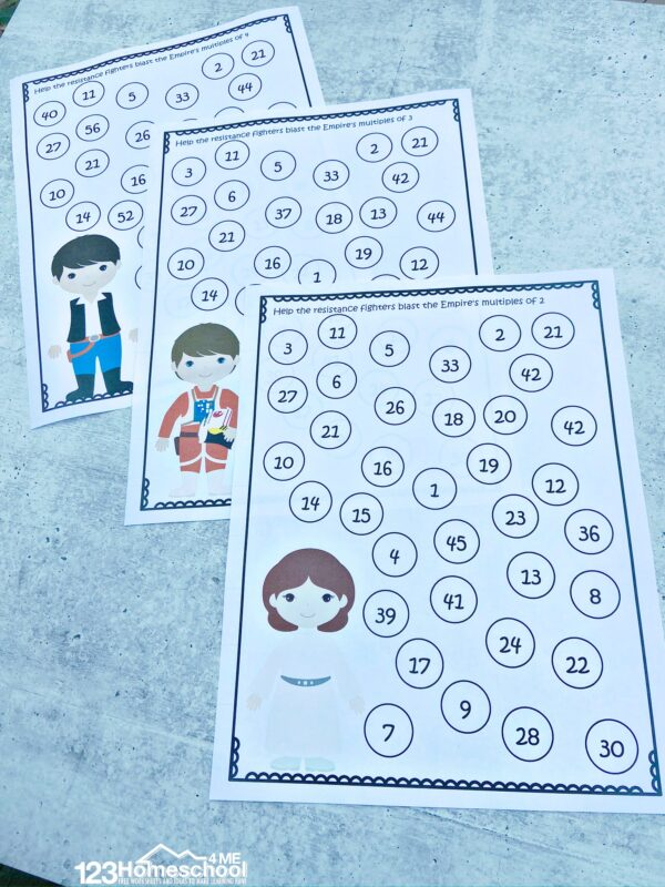 Fun, free printable Star Wars Math worksheets to practice multiples with kindergarten, first grade, 2nd grade and 3rd grade students