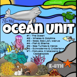 HUGE Ocean Unit for elementary and middle school kids to learn about the ocean and aquatic animals with engaging lessons, hands on science experiments, worksheets, report templates, creative writing templates, and more!