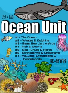 Ocean Unit - huge, 250+ page Ocean Animals Lesson will allow you to learn about the ocean and aquatic animals. There are 7 units to allow you to more closely examine the wide variety of aquatic animals on our planet - from whales to sea urchin. Use this fun science unit as a semester long science curriculum complete with easy to understand information, fun worksheets, video links, science experiments, cute clipart, printable crafts, report templates, creative writing prompts, and tests. Of if you prefer, add these engaging science activities as a supplement to your zoology / biology lessons, summer schooling, following your child's interest, creating a fascinating science center, or planning for next years homeschool science lesson - you are going to love this fun, interesting, and thorough lesson! This aquatic animals for kids unit has tons of options making it perfect for the whole family  - from kindergarten, first grade, 2nd grade, 3rd grade, 4th grade, 5th grade, 6th grade, grade 7, and grade 8 - there is truly something for everyone!