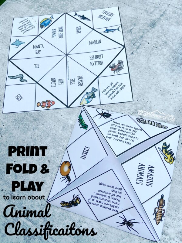 print, fold, and play to learn about animal classifications with children using 10 cootie catchers