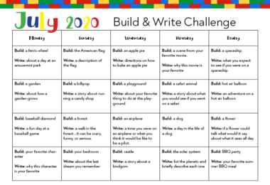 one page printable Lego Writing Prompts for Kids