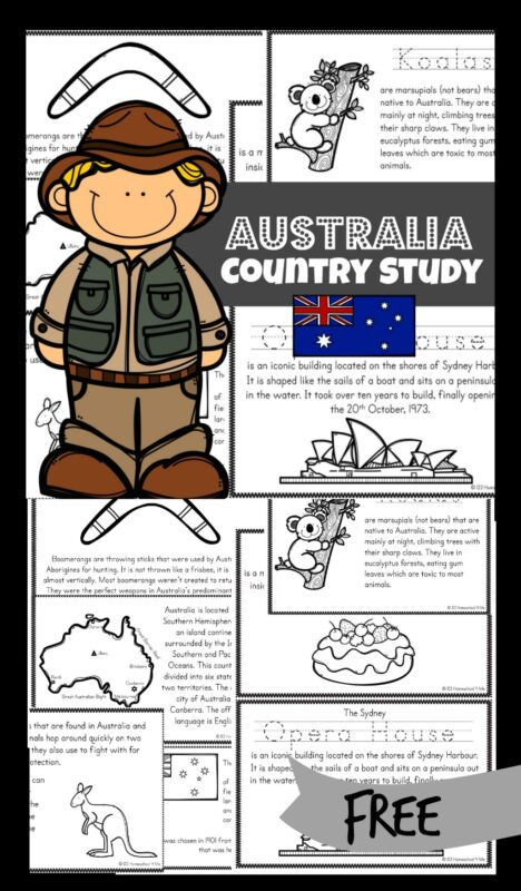 FREE Australia Printables -Go down under as you learn about Australia for Kids with these free printable books. These books help teach about Australia; their way of life, the culture, landmarks and interests. They will also learn about some iconic Australian animals like the native kangaroo.