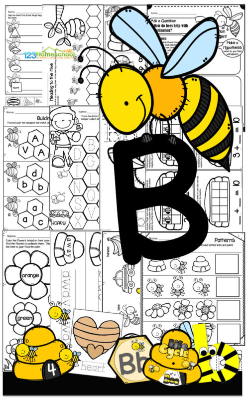 B is for bee printables for preschoolers. Lots of hands on math and alphabet letter b activities, letter b worksheets, shapes, colors, science experiment, bee life cycle, how to draw a bee drawing prompts, save the bees, and more!