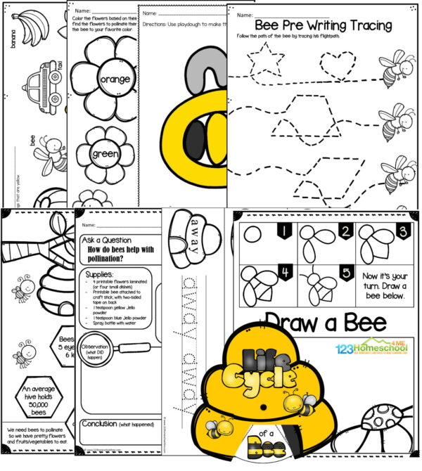 bee life cycle, pollination experiment, how to draw a bee, color yellow, bee playdough mat, pre writing tracing, sight words, and more