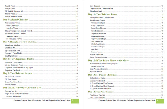 Table of contents with a sampling of the many clever ideas from Christmas Crafts for Kids book by Beth Gorden