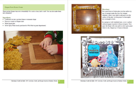 pretty pasta picture frame craft idea for a kid made present this December from  from Christmas Crafts for Kids book by Beth Gorden