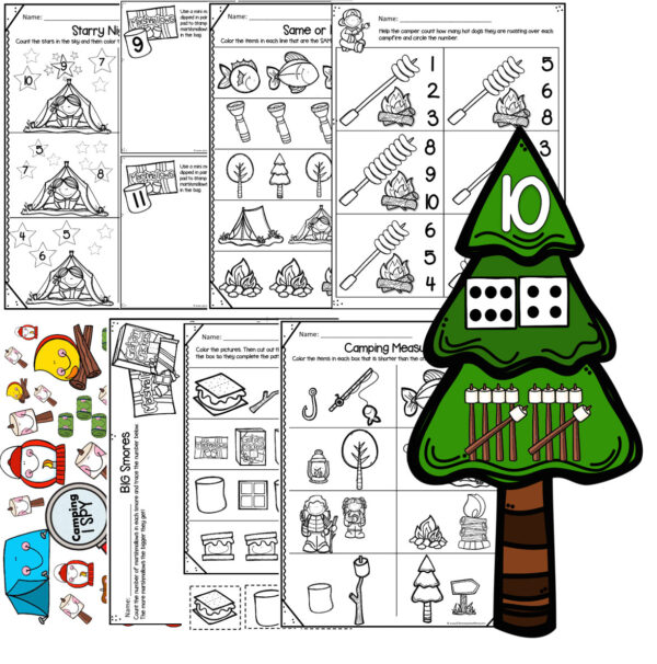 camping math for preschoolers counting to 10, number sense, tracing numbers, patterns, measurement, same or different