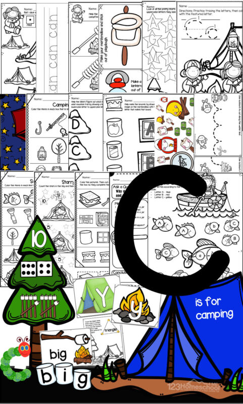 Camping Theme for Preschoolers - download the letter c printables to help pre k and preschool students practice alphabet letters, counting, sight words, shapes, colors, name craft, camping science experiment, letter craft, and more!