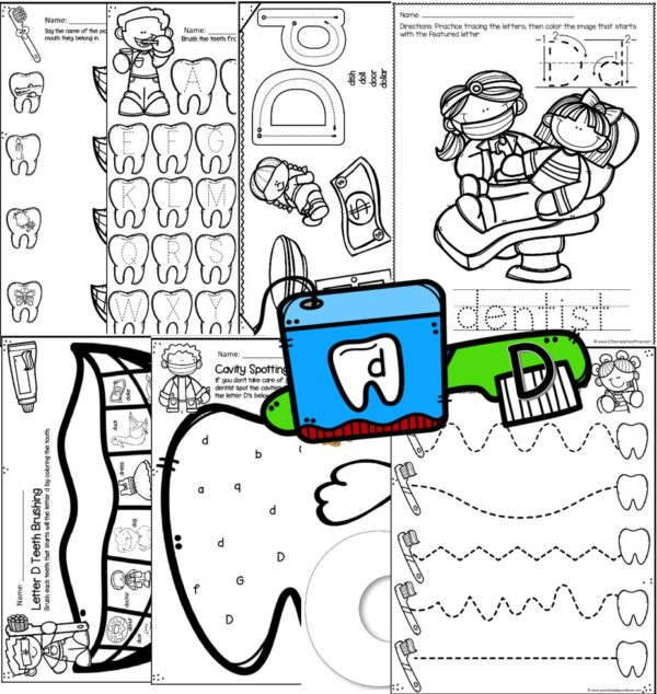 d is for dentist printables for preschool and pre k students