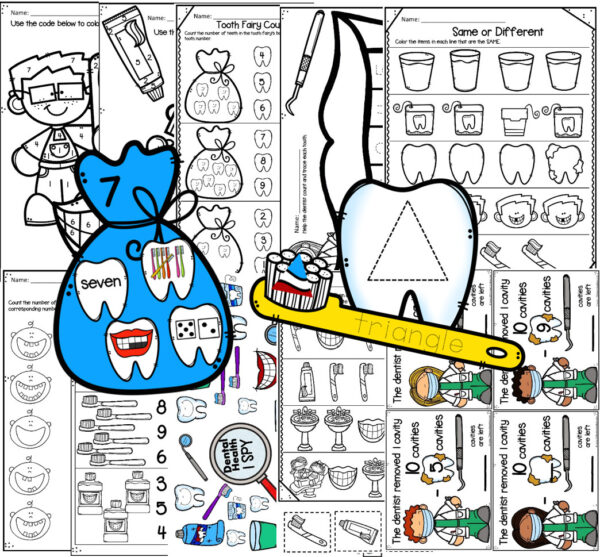dental health themed math activities for preschoolers