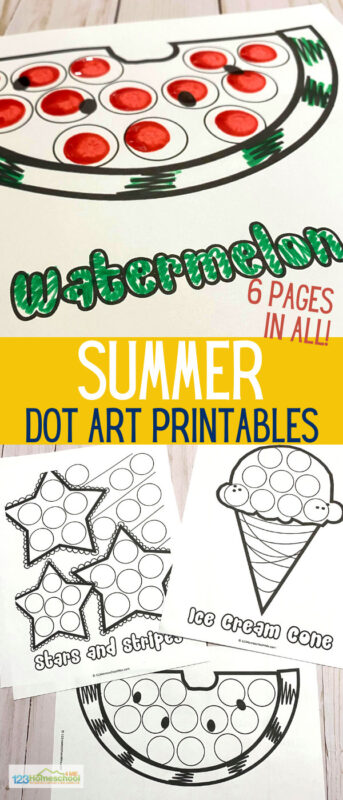 Summer is quickly approaching, who else is excited? When the temperatures start heating up, the food starts getting colder and it makes a perfect theme for creativity! These Summer Dot Art Printables are a super easy way to help children strengthen skills, increase creativity and have fun all at the same time!