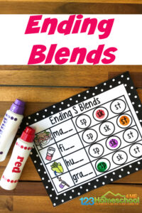 Help first graders practice withs blends to improve reading fluency by using these fun, FREE Printable on Ending Blends themed Do a Dot Printables.