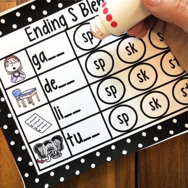 Ending blends Worksheet