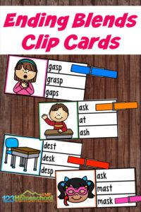This FREE printable s blends activity is a fun way to help teaching children to read. Simply download the pdf file, read the words, and clip the answer.