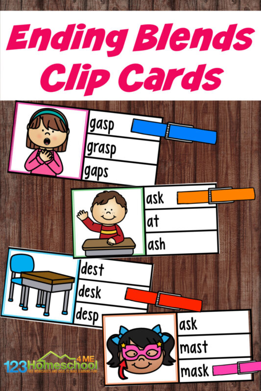 This FREE printable ending s blends activity is a fun way to help teaching children to read. Use this s blends printable with kindergarten, first grade, and 2nd grade students to practice carefully reading words and clip the word that represents the cute clipart image shown on the free clip cards. Simply download the pdf file, read the s blend words, and clip the answer.