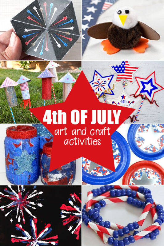 over 100 fun 4th of July Crafts for toddler, preschool, pre k, kindergarten, first grade, 2nd grade, 3rd grade, and families