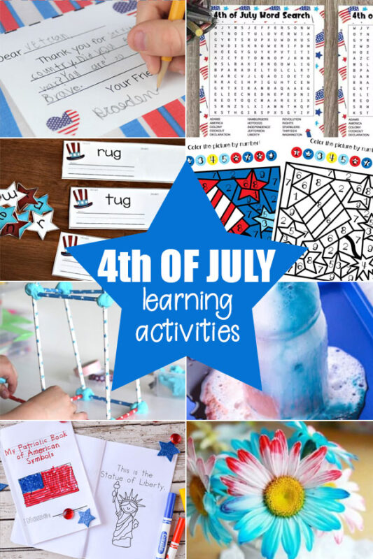 Fourth of July learning activities for teachers, hoemschoolers, and educators with elementary age students