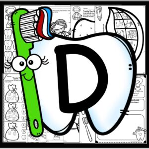 letter d weekly theme for preschoolers including alphabet, counting, shapes, colors, number sense, science experiments, brushing your teeth with toothbrush and toothpaste, subtraction, and more!