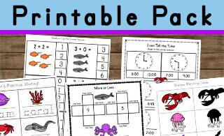 Huge pack of over 50 pages of Ocean Worksheets for Kids
