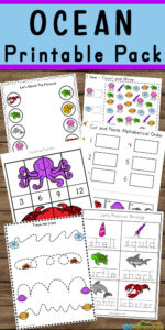 FREE Ocean Worksheets - Make practicing numbers, letters, counting, and literacy FUN with these free printable ocean worksheets for preschool, pre k, kindergarten, first grade, and 2nd grade students! This huge, 50+ page ocean printable pack is a fun way to explore the amazing creatures that live in the ocean.