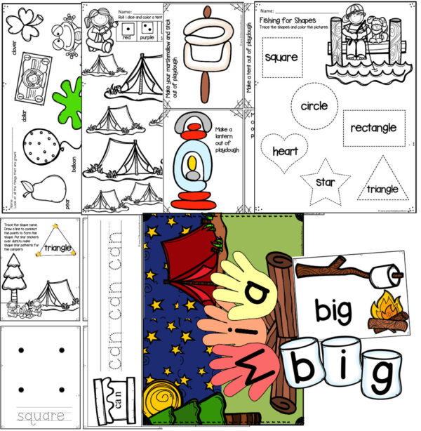 preschool letter c weekly theme printables including shapes, colors, name recognition, sight words, camping playdough cards, and more