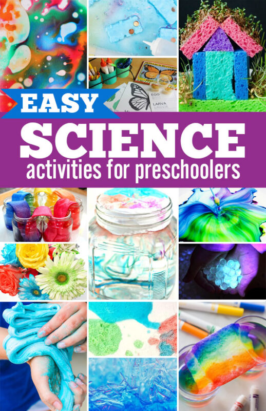 Would you like to do more science activities with your kids, but are not sure where to start? These Easy Science Activities for Preschoolers are fun and easy, even if you are not so 'sciencey' yourself! Fun science experiments and science activities for pre k, kindergarten, and toddlers.