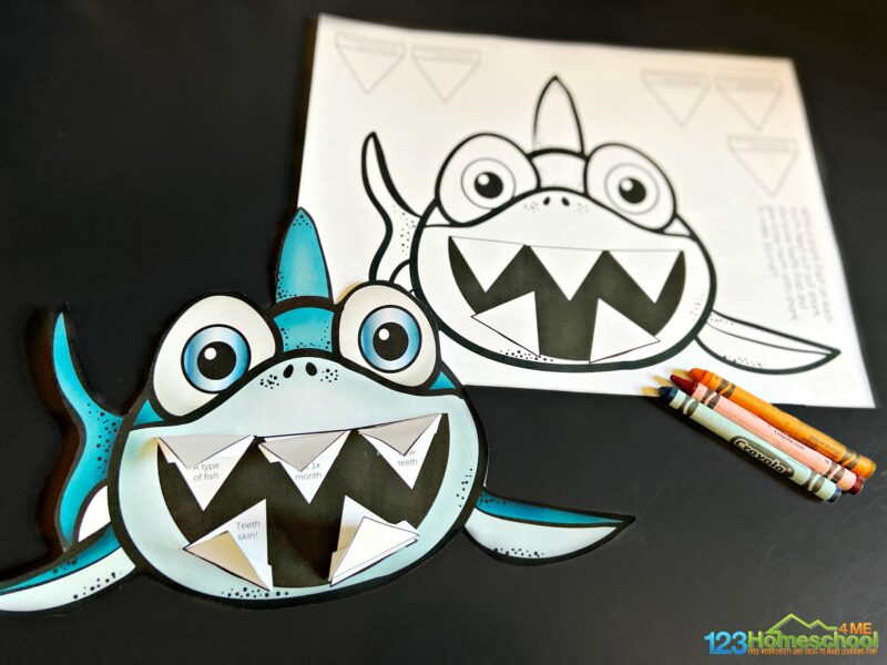 super cute printable shark craft with template in black and white or in color. Make the teeth 3d for a super cute project!