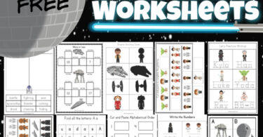 Celebrate Star Wars Day on May 4th with these super cute  Star Wars Worksheets! This pack is loaded with over 50 pages of star wars printable activities to make learning fun for preschool, pre-k, kindergarten, first grade, and 2nd grade students. Whether you are learning your shapes, letters, counting, adding double digit numbers, or want to use the star wars I spy printable, you will love these star wars kindergarten worksheets. Simply download pdf file with star wars activity sheets and you are ready to play and learn with a star wars activity for kids from a galaxy far, far away!