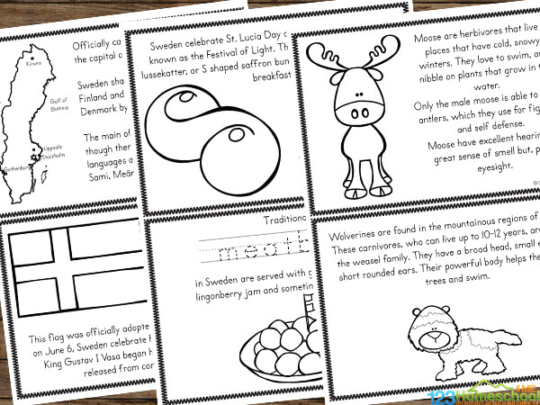 sweden printables filled with cute clipart and interesting facts for students to learn about this European country
