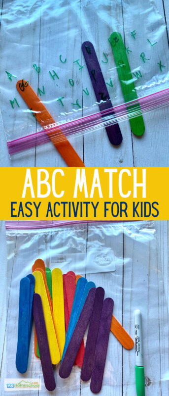 Popsicle Stick ABC Match Game - this alphabet activity is such a fun way for toddler, preschool, pre k, and kindergarten age children to practice matching upper and lowercase letters while having FUN with a hands on learning activity!