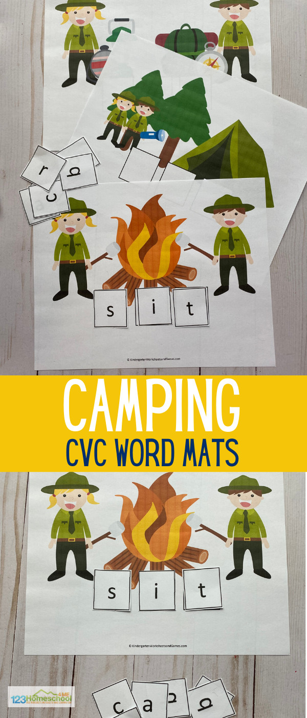 Summer learning activity to practice cvc words with these Camping Sight Words Activityd for pre k, kindergarten, and first grade students.