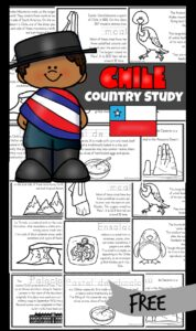 FREE Chile for Kids Reader - Join me as we take a virtual trip to Chile - a country that extends like a long narrow ribbon down the west coast of South America. Download the free printable book Chile for kid that students will color, read, and learn fascinating facts like how it is home to penguins, Incan ruins, the Atacama Desert (driest place on Earth), Andes Mountains, and Easter Island! This is a great way to learn about other countries and geography with pre k, kindergarten, first grade, 2nd grade, 3rd grade, 4th grade, 5th grade, and 6th grade children.