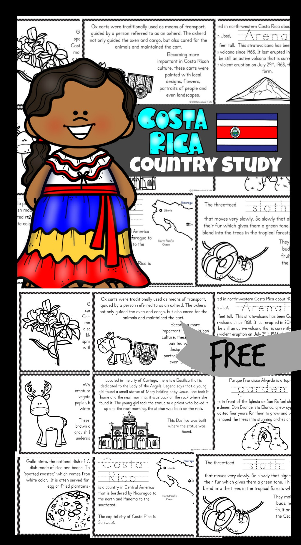 Teaching children about different countries and cultures is so much fun, especially when learning about animals, foods, ox and carts and Arenal volcano.  These free printable books exploring Costa Rica Country for Kids are a great way to teach children in pre k, kindergarten, grade 1, grade 2, grade 3, grade 4, and grade 5 about these interesting people. These mini books would be great used as part of a unit study on Costa Rica, or as a way for children to practice their reading while learning about another culture.