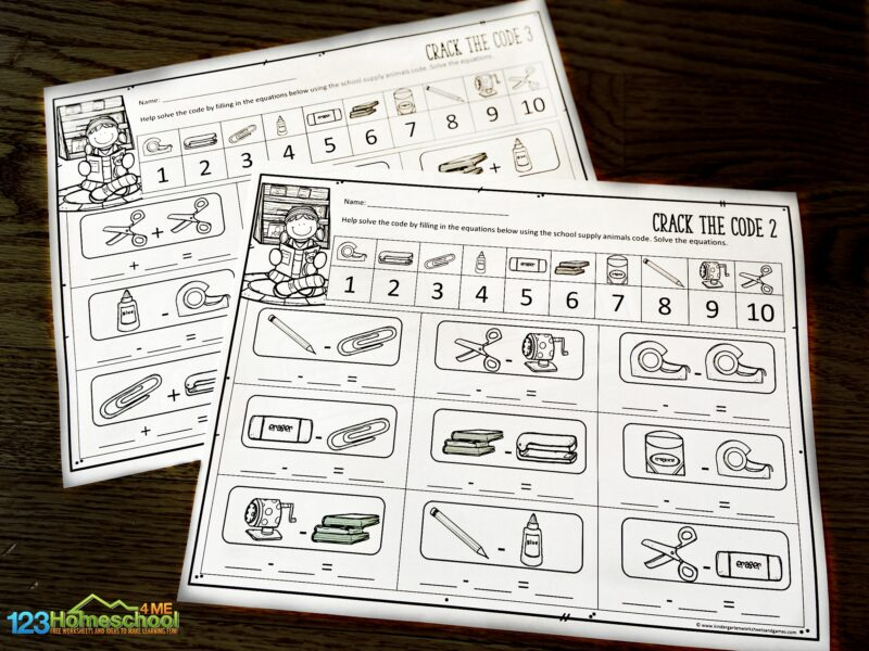free Crack the Code Math worksheets for kindergarten and first grade students