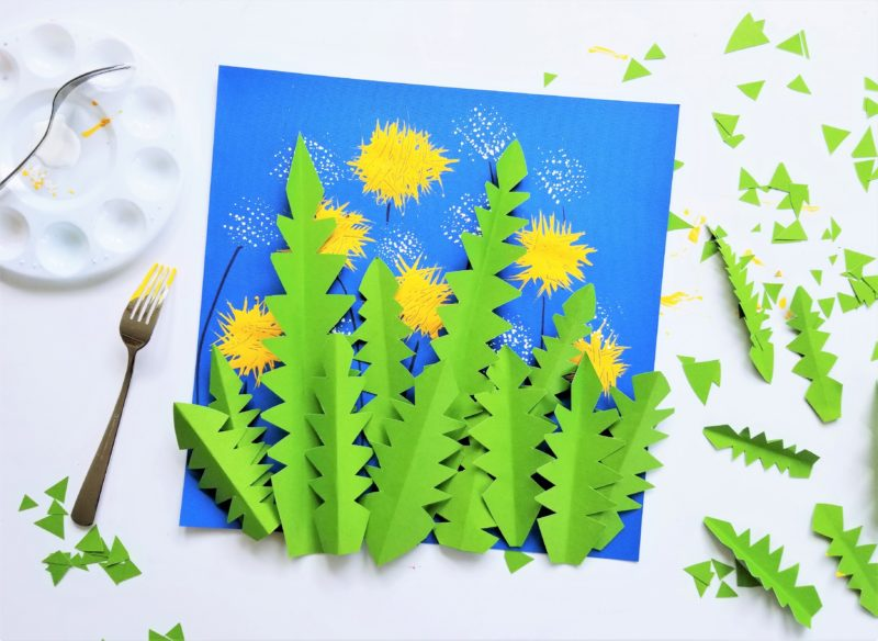Dandelion Craft for Kids using green construction paper, a fork, yellow paint, and white paint