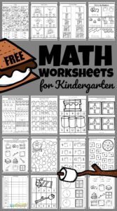 This  S'Mores themed math activity is filled with super cute clipart to keep kids engaged and having fun learning with printable, Free Math Worksheets for Kindergarten. These are a great way for children to practice and improve their knowledge of the numbers and simple math equations. This huge pack of free math worksheets are perfect for preschoolers, kindergartners, and grade 1.