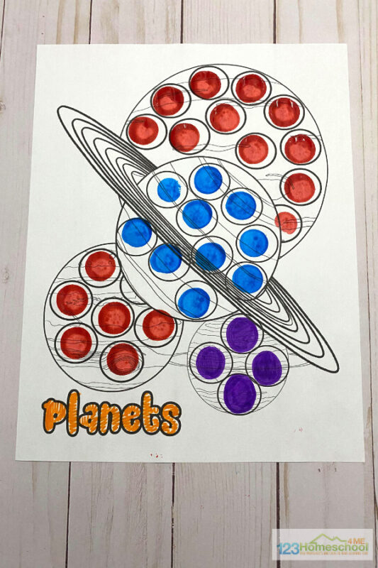 toddler, preschool, pre k, and kindergarten age kids will have fun completing these space themed Free do a dot printables
